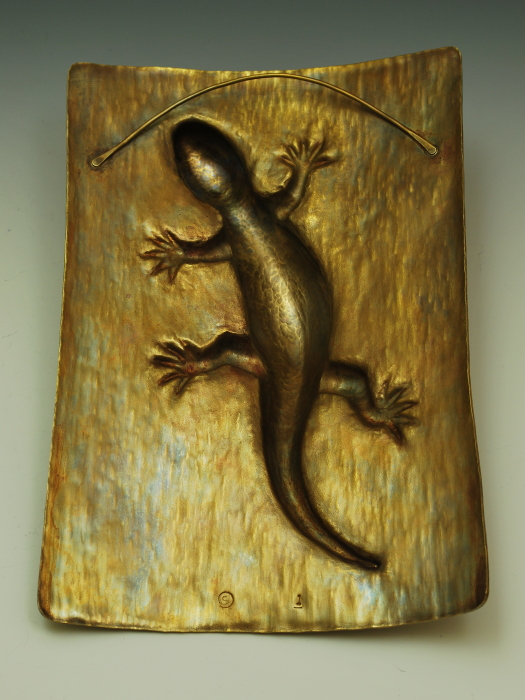 Lizard Wall Sculpture, hammer-formed brass - Steve Shelby\'s Metal Art