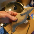 1. Starting out with a clay model, to make a pattern for the blank of flat sheet of brass.