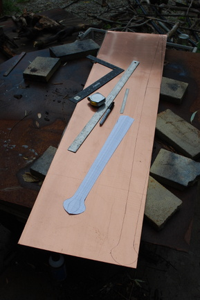 1. Ready to start the longest piece I've ever made. A one foot by four foot piece of 16 gauge copper, ready to cut out.