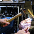 5. After annealing, working on stage two of raising. A bit easier this time; I was able to use my regular raising hammer.