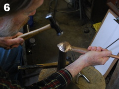 6. Forming the end on a domed stake.