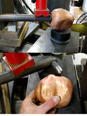 9. Using a special tool and the hydraulic press to push out the nose.