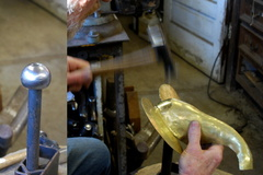 11. Using the ball stake shown on the left with the heavy planishing hammer to fill out the form of the head.