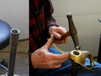 35. Using the special tool shown on the left to form the hole for the horn.
