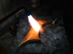 8. Annealing the whole piece, to make the metal malleable again after having been thoroughly work-hardened.