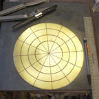 1. Starting with an 8.5 inch 16 gauge brass circle, annealed.