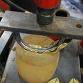 14. Pressing the form with the hydraulic press, on a polyurethane block.