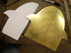 03. The pattern was trace on paper, then cut out and traced on 16 gauge brass sheet.
