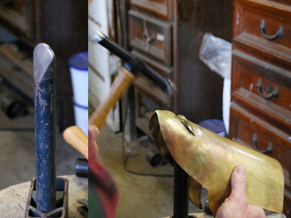 10. The upper and lower mouth were pushed in, here showing the lower, and the special stake used for that.