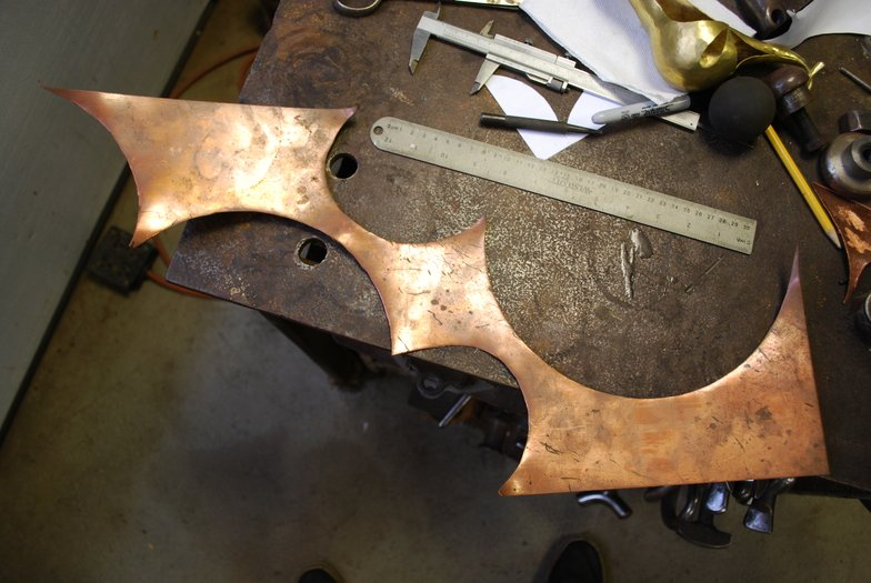 "1. I started with this scrap of 16 gauge copper sheet, about 28"" long, and no preconceived design in mind."