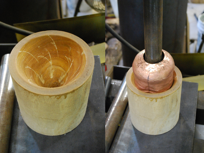 5. Using this cone-shaped hardwood cavity and the hydraulic press to push out the chin.