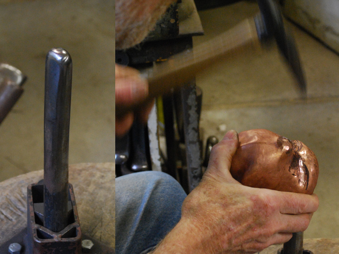 11. Using the stake shown on the left, hammering below it to form depressions for the eyes, and brow ridges.