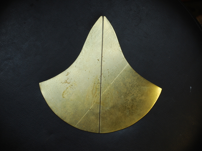 28. Now on Part Two, making the hat, which is also the handle. Here is the piece of brass sheet cut out and annealed.
