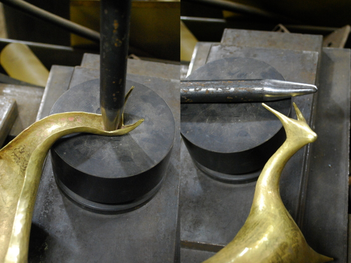 14. I annealed the head area one more time and punched it out with an even more pointed tool.