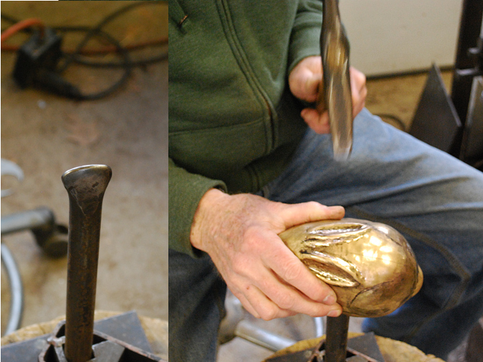 15. with the tool shown on the left side in the groove formed in the previous step, shaping the ear from the outside.