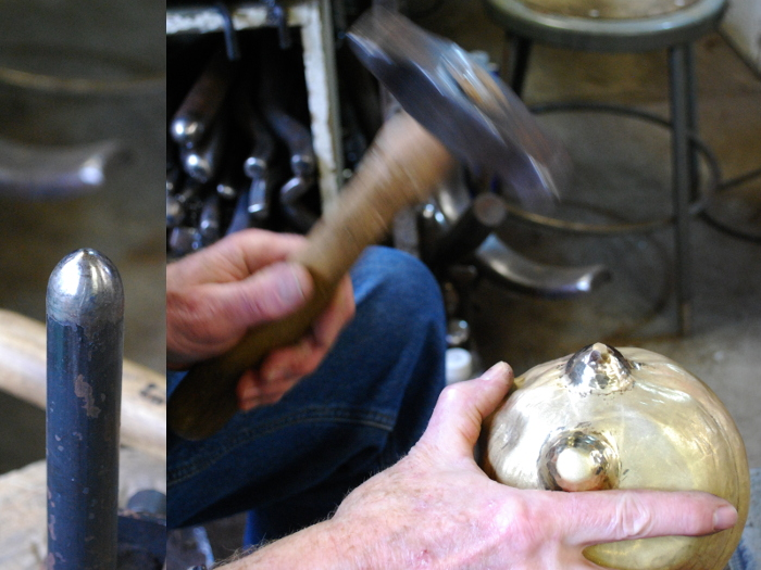 9. Using the tool shown on the left, hammering the ears to stretch the metal upward.